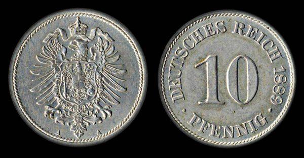 GERMANY 10 pfennig 1889 A