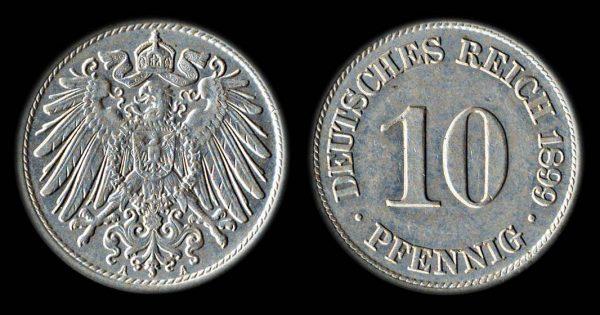 GERMANY 10 pfennig 1899 A