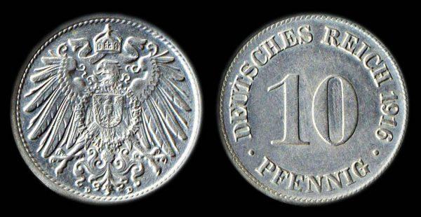 GERMANY 10 pfennig 1916 D