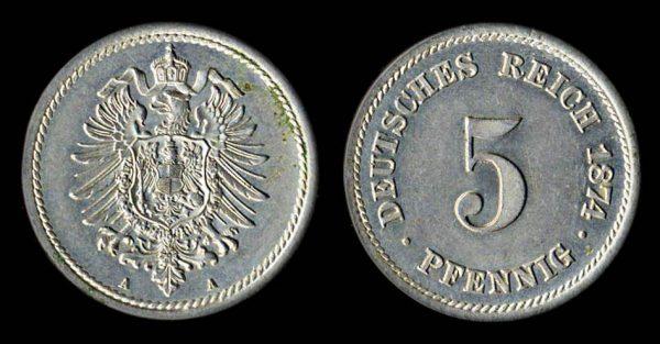GERMANY 5 pfennig 1874 A
