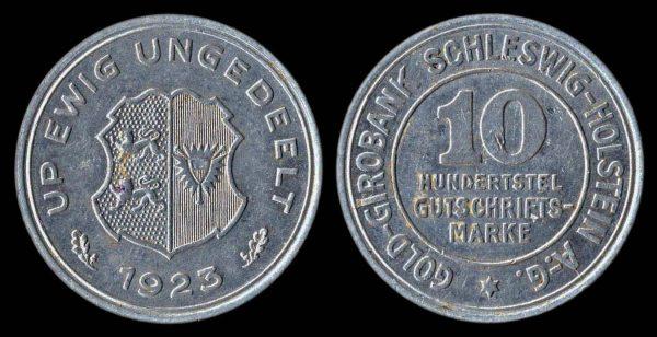 GERMANY SCHLESWIG-HOLSTEIN 10/100 gutschriftsmarke 1923