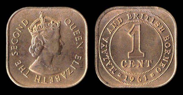 MALAYA & BRITISH BORNEO 1 cent 1961