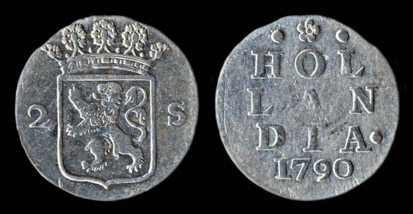 NETHERLAND 2 stuiver 1790 Holland mint