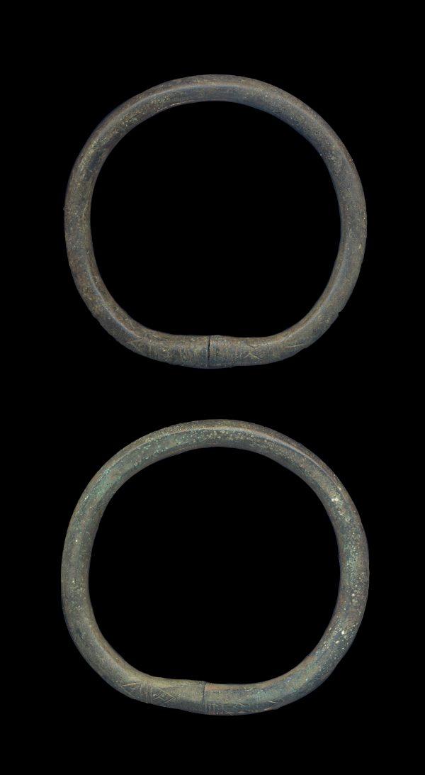 ANCIENT SILK ROAD BRONZE BRACELET PAIR