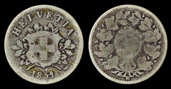 SWITZERLAND 10 rappen 1851 BB