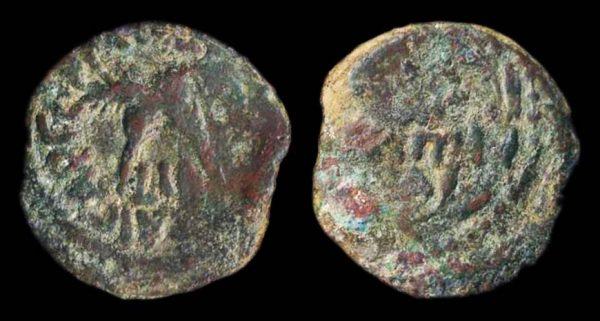 JUDAEA, Antonius Felix, 52-58 AD, bronze prutah, year 14 of Claudius (54 AD)