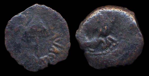 JUDAEA, Herod Agrippa I, 37-44 AD, bronze prutah, year 6