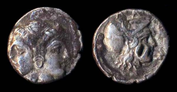 LAMPSAKOS, silver diobol, (circa 390-330 BC)
