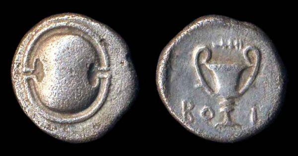 THEBES, silver hemidrachm, (426-395 BC)