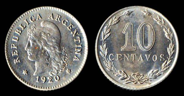 ARGENTINA 10 centavos 1920