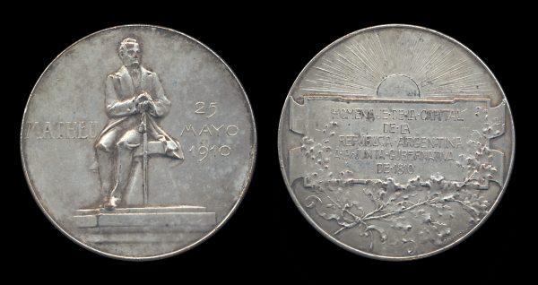 ARGENTINA, silvered bronze medal, 1910, Mathieu statue