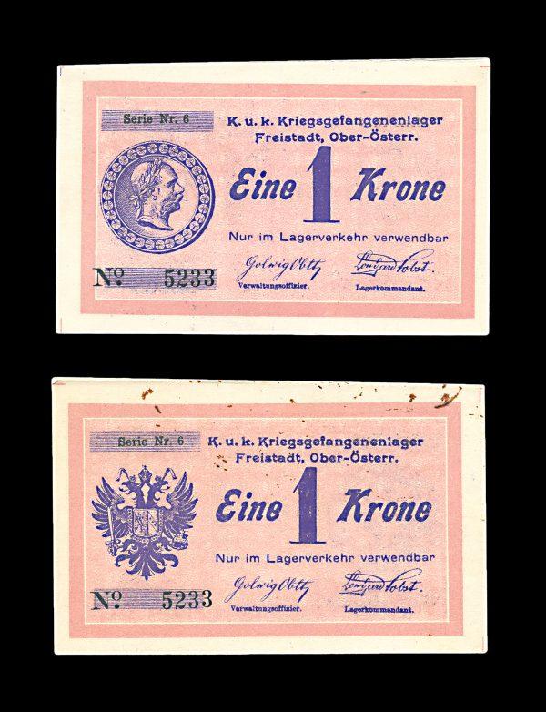 AUSTRIA, FREISTADT Prisoner of War Camp 1 krone, World War I