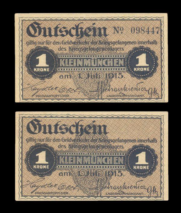 AUSTRIA, KLEINMÜNCHEN Prisoner of War Camp 1 krone, 1.7.1915
