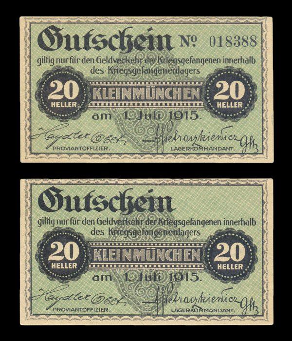 AUSTRIA, KLEINMÜNCHEN Prisoner of War Camp 20 heller, 1.7.1915