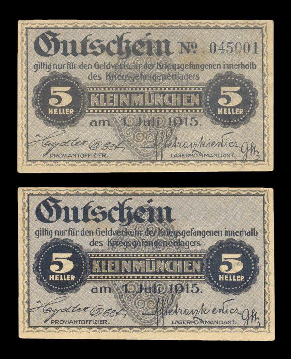 AUSTRIA, KLEINMÜNCHEN Prisoner of War Camp 5 heller, 1.7.1915