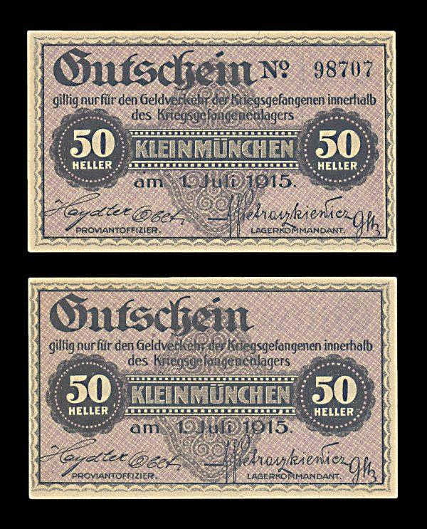 AUSTRIA, KLEINMÜNCHEN Prisoner of War Camp 50 heller, 1.7.1915