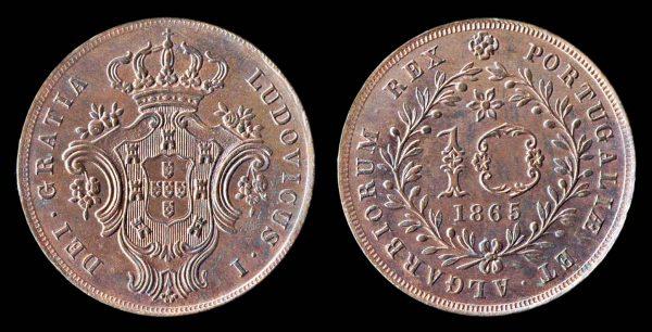 AZORES 10 reis 1865