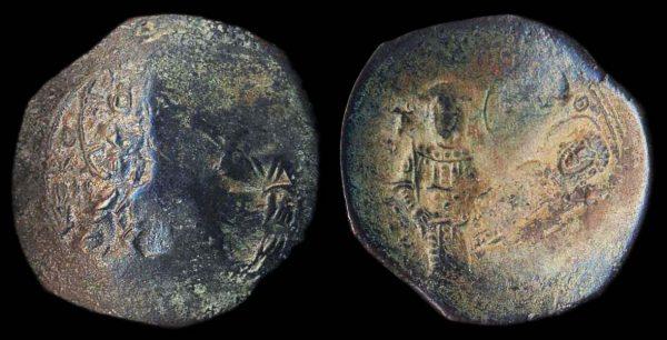 BYZANTINE, Alexius III, 1195-1203 AD, billon aspron trachy, Constantinople mint