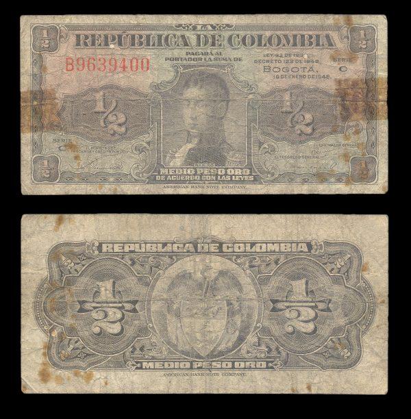 COLOMBIA, 1/2 peso oro 16.1.1948