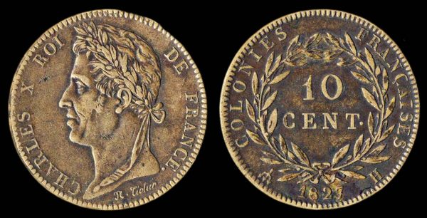 FRENCH COLONIES 10 centimes 1827 H