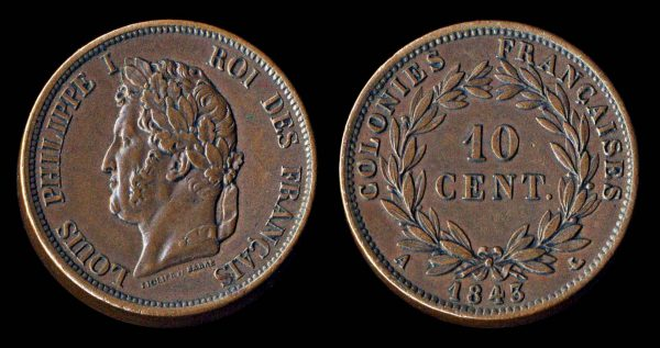 FRENCH COLONIES 10 centimes 1843 A