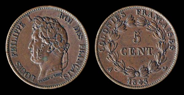 FRENCH COLONIES 5 centimes 1843 A