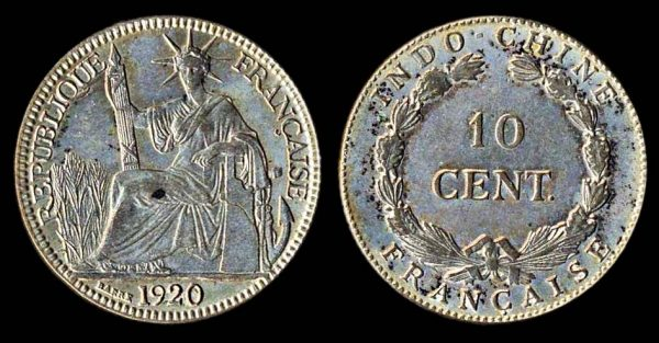 FRENCH INDOCHINA 10 cent 1920 San Francisco mint