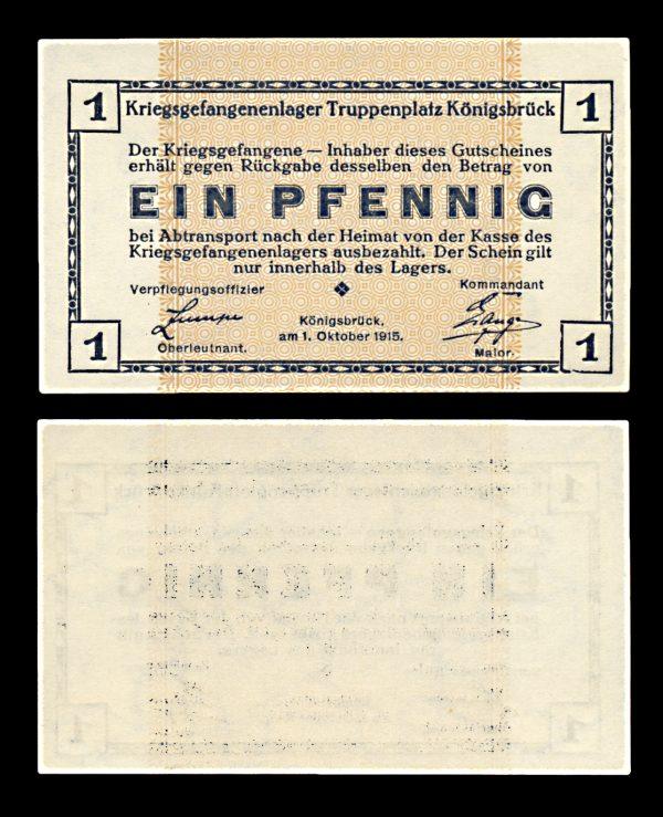 GERMANY, KÖNIGSBRÜCK Prisoner of War camp 1 pfennig 1.10.1915