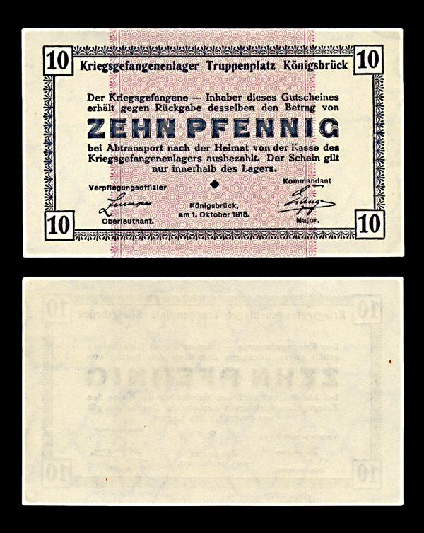 GERMANY, KÖNIGSBRÜCK Prisoner of War camp 10 pfennig 1.10.1915