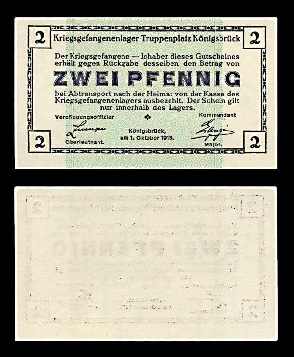 GERMANY, KÖNIGSBRÜCK Prisoner of War camp 2 pfennig 1.10.1915