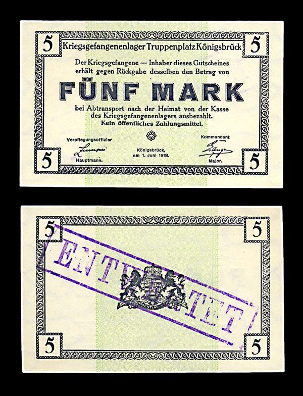 GERMANY, KÖNIGSBRÜCK Prisoner of War camp 5 mark 1.10.1915