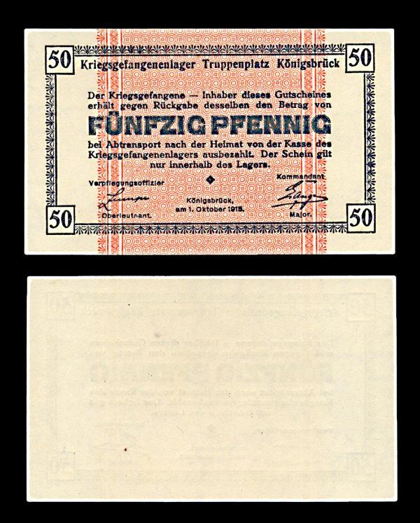 GERMANY, KÖNIGSBRÜCK Prisoner of War camp 50 pfennig 1.10.1915