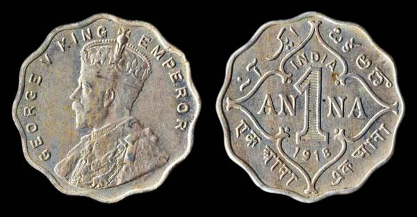 INDIA 1 anna 1918 Bombay mint