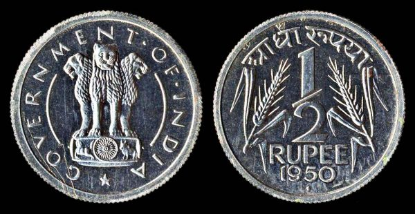 INDIA half rupee 1950 Bombay mint lacquered proof