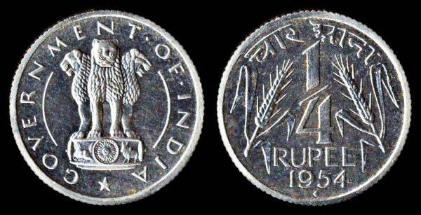 INDIA quarter rupee 1954 Bombay mint proof