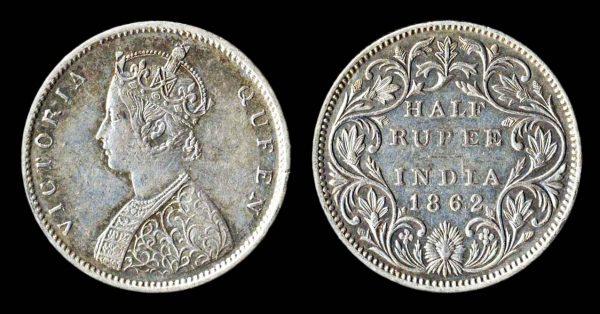 INDIA 1 rupee 1862 (1862-69 AD) Madras? mint