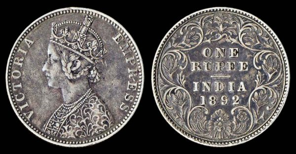 INDIA 1 rupee 1892 B Bombay mint