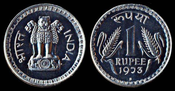 INDIA 1 rupee 1973 B Bombay mint proof