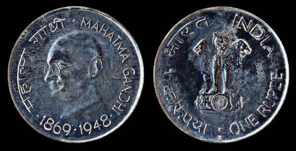 INDIA 1 rupee Gandhi (1969) B Bombay mint