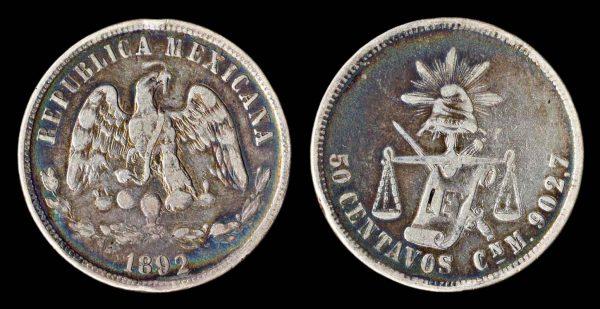 MEXICO 50 centavos 1892 CnM