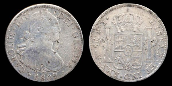 MEXICO 8 reales 1802 2 over 1 FT