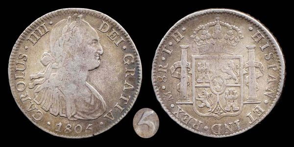 MEXICO 8 reales 1805 5 over 4 (maybe)