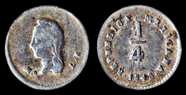 MEXICO quarter real 1843 MoLR