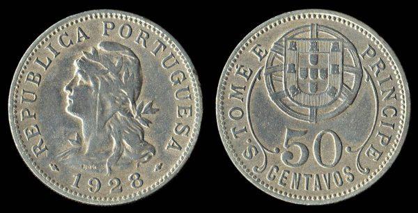 SAINT THOMAS & PRINCE 50 centavos 1928