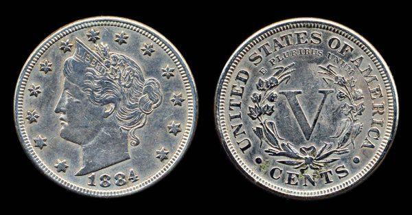 USA 5 cents 1884