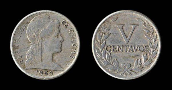 COLOMBIA 5 centavos 1950 B