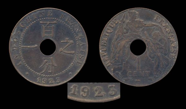 FRENCH INDOCHINA 1 cent 1923 thunderbolt date variety
