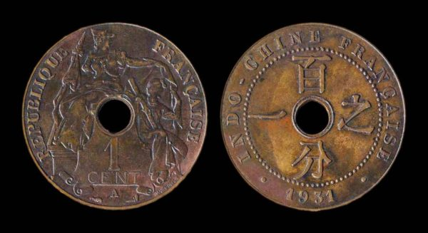 FRENCH INDOCHINA 1 cent 1931 A torch narrow date variety XF