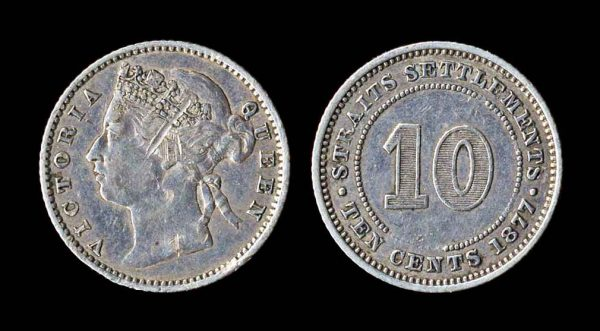 STRAITS SETTLEMENTS 10 cents 1877