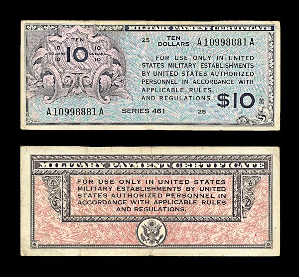 USA Military Payment Certificate 10 dollars series 461